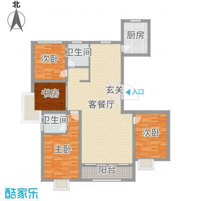 城市主人138.00㎡A2户型4室4厅2卫1厨