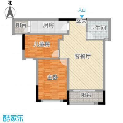 碧桂园城市花园89.42㎡16#标准层F2户型2室2厅1卫1厨