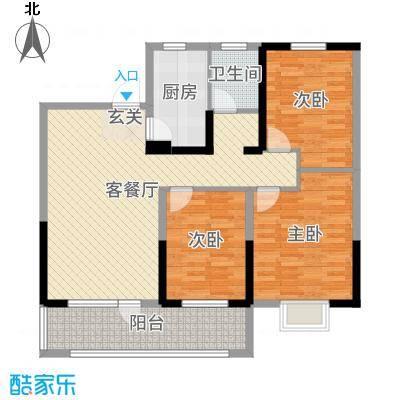 中南世纪锦城111.93㎡18号楼B户型3室3厅1卫1厨