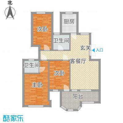 米兰花园105.77㎡一期2#楼标准层Da-b2户型3室3厅2卫1厨