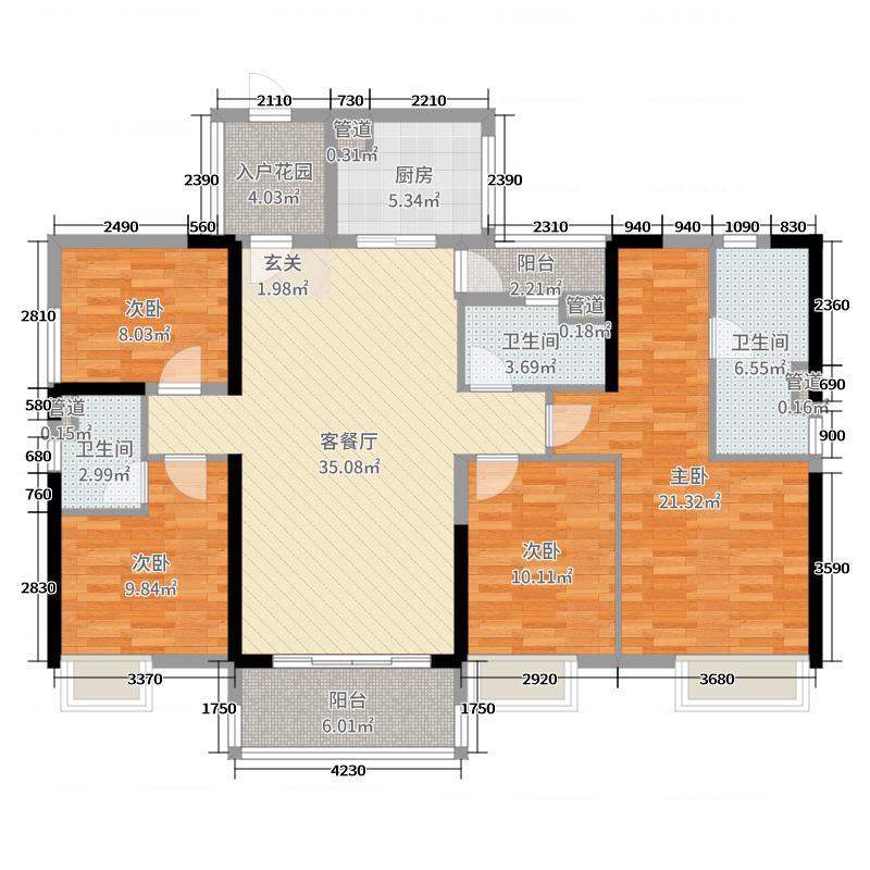万科幸福誉145.00㎡l6栋户型4室4厅3卫1厨图片