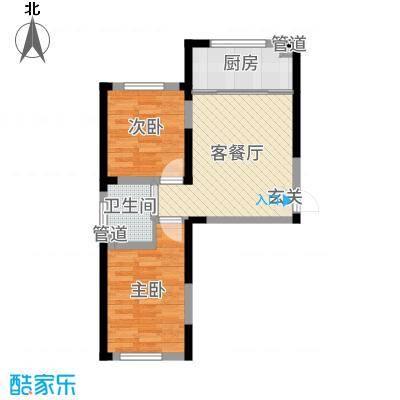 万龙台北明珠77.00㎡户型2室2厅1卫1厨