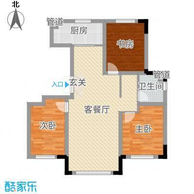领秀蓝珀湖106.00㎡二期多层A户型3室3厅1卫1厨