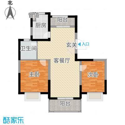 绿地泊林公馆100.00㎡一期高层标准层A户型2室2厅1卫1厨