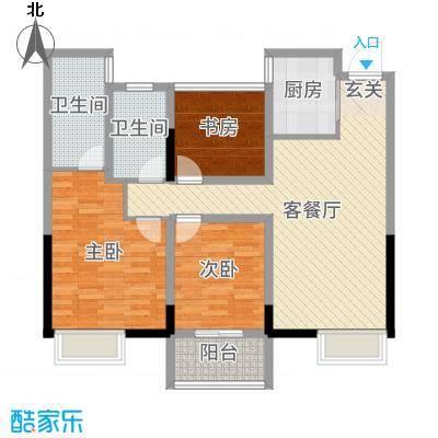 蔚蓝天地102.00㎡1#2#5#6#7#标准层B户型3室3厅2卫1厨