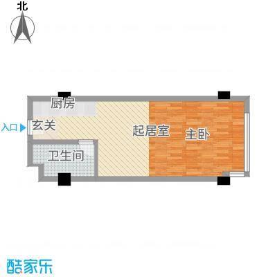 富强城62.35㎡305#楼标准层J户型1室1厅1卫1厨