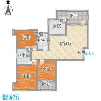 天马相城四期125.01㎡17#C户型3室3厅2卫1厨