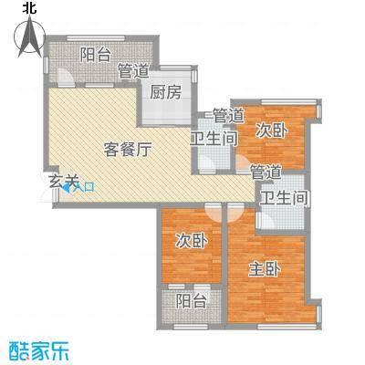 天马相城四期134.21㎡17#D户型3室3厅2卫1厨