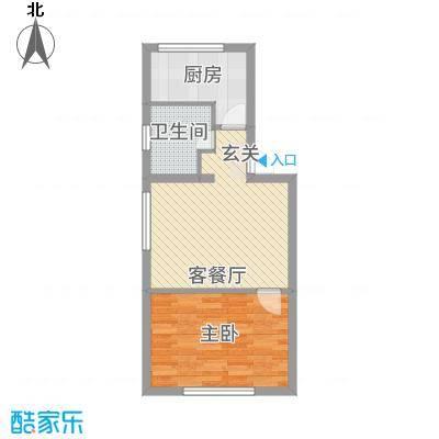 峰云印象52.90㎡二期多层1号楼、4号楼标准层A户型1室1厅1卫1厨