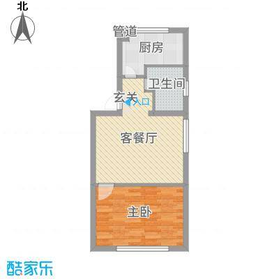 峰云印象52.90㎡二期多层7号楼标准层F户型1室1厅1卫1厨