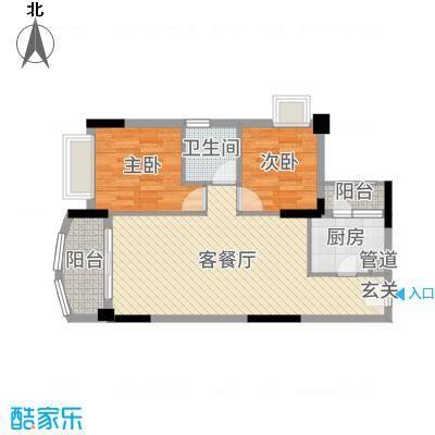 尚湖轩二期76.00㎡6栋03单位户型2室2厅1卫1厨