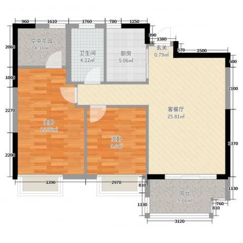 四季金辉88.00㎡BG户型2室2厅1卫1厨
