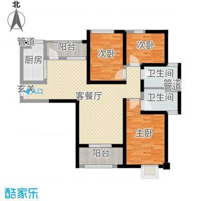 海伦春天124.00㎡10号楼红色浪漫户型3室3厅2卫1厨
