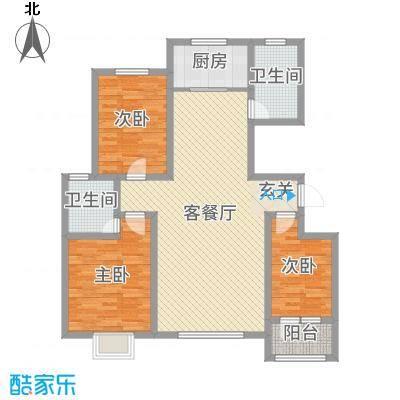 金润・香榭居129.00㎡5#楼G1户型3室3厅1卫1厨