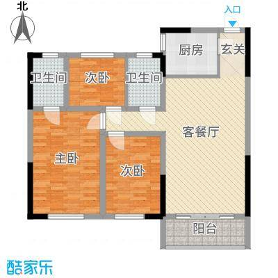 碧桂园银河城118.78㎡Y125-2A户型3室3厅2卫1厨