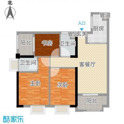 万科广场111.00㎡2号楼A103、04单元户型3室3厅2卫1厨