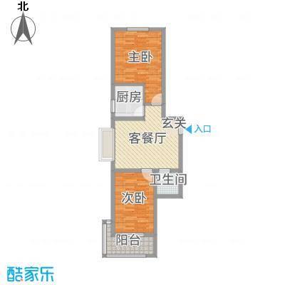 融基・御水山庄76.87㎡3、4号楼标准层户型2室2厅1卫1厨