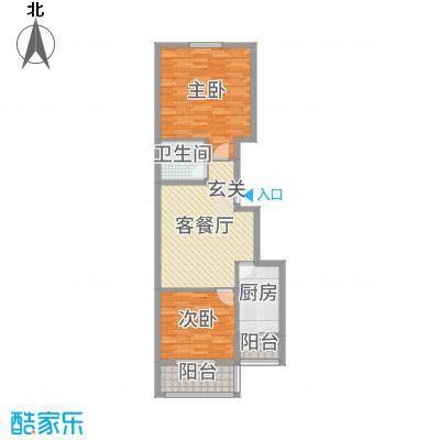 融基・御水山庄86.52㎡3、4号楼标准层户型2室2厅1卫1厨