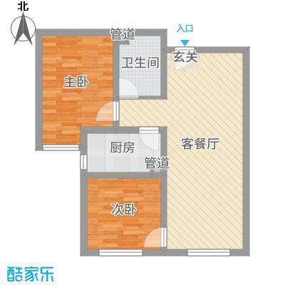 隆河谷二期77.55㎡A02户型2室2厅1卫1厨