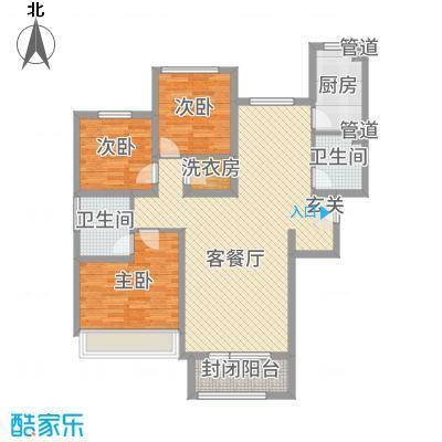 隆河谷二期131.26㎡GB-3户型3室3厅2卫1厨