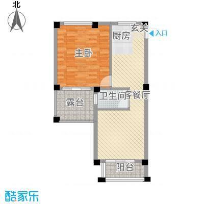 郁金蓝湾69.00㎡1号楼2号楼单身公寓02户型1室1厅1卫1厨