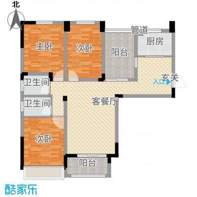 首创悦府121.06㎡D1户型3室3厅2卫1厨