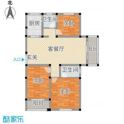 郁金蓝湾123.00㎡27#楼边户户型3室3厅2卫1厨