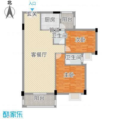 丽景华庭108.31㎡2户型2室2厅2卫