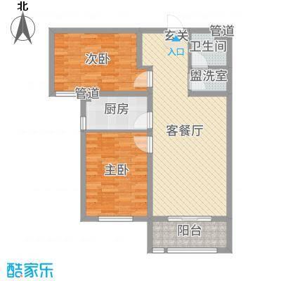 鹿城一号89.29㎡3#标准层A2户型2室2厅1卫1厨