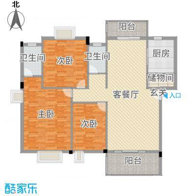丽景华庭141.47㎡4户型3室3厅2卫1厨
