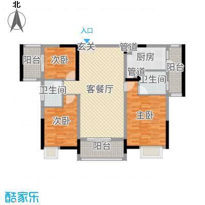 开平海逸华庭117.00㎡逸豪轩2幢02标准层户型3室3厅2卫1厨