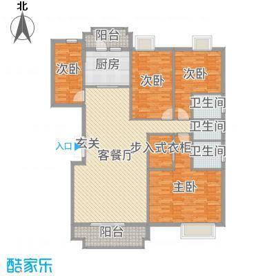 水口雅乐苑161.96㎡N、O幢A、B标准层户型4室4厅3卫1厨