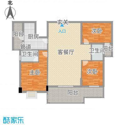 水口雅乐苑170.44㎡M幢C标准层户型3室3厅2卫1厨