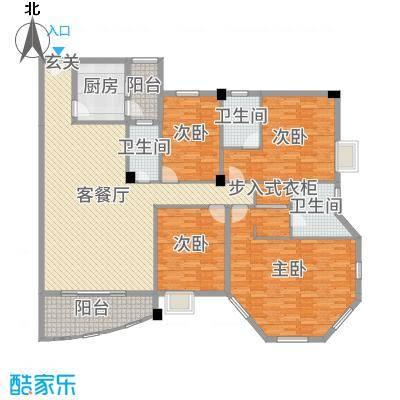 水口雅乐苑176.89㎡L幢A标准层户型4室4厅3卫1厨