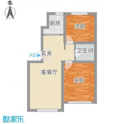 中南世纪城68.00㎡B1户型2室2厅1卫1厨