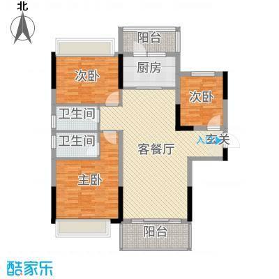 碧桂园城市花园117.00㎡二期1#、4#标准层YJ118T-A户型3室3厅2卫1厨