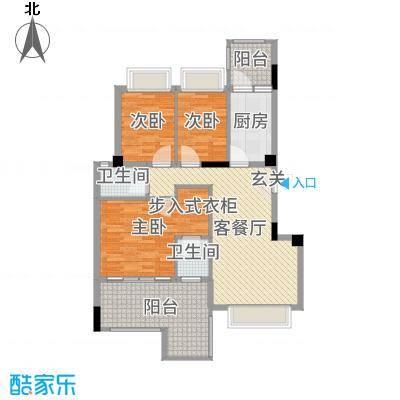 钻石铭苑104.00㎡二期高层C1F户型3室3厅2卫