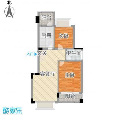 钻石铭苑67.60㎡二期高层G1F户型2室2厅1卫