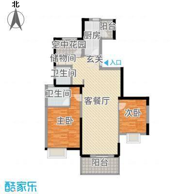 四季金辉122.00㎡E户型2室2厅2卫1厨