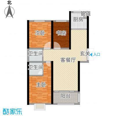 时代广场122.64㎡2#B3户型3室3厅2卫1厨
