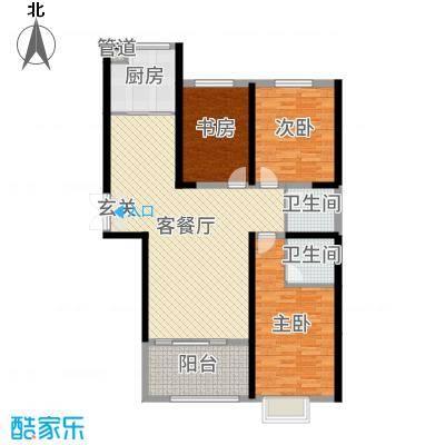 时代广场124.63㎡3#B4户型3室3厅2卫1厨