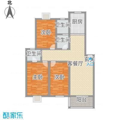 祥和至尊124.42㎡3#4#楼G户型3室3厅2卫1厨