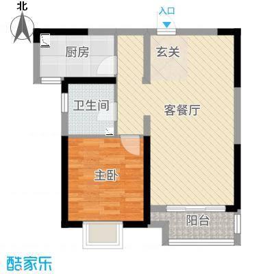 鑫苑国际新城60.00㎡H3户型1室1厅1卫1厨