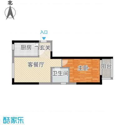 鑫苑国际新城60.00㎡L5户型1室1厅1卫1厨