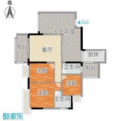泊岸君庭143.00㎡5栋02单元户型3室3厅2卫1厨