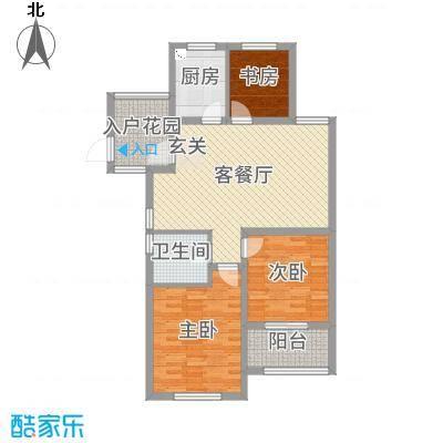 御园103.00㎡D6、D7、D12楼边户-G1户型3室3厅1卫1厨