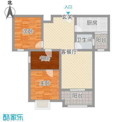 明发・淄博世贸中心106.55㎡32#楼标准层B1-2户型3室3厅1卫1厨