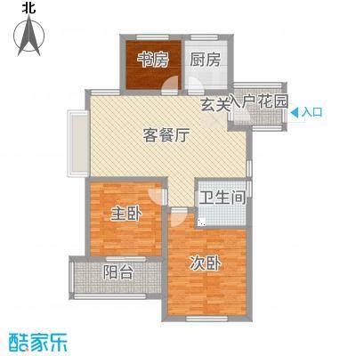 御园105.00㎡D6、D7、D12楼边户-G3户型3室3厅1卫