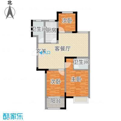 港龙・景山秀水112.00㎡D2户型3室3厅2卫1厨
