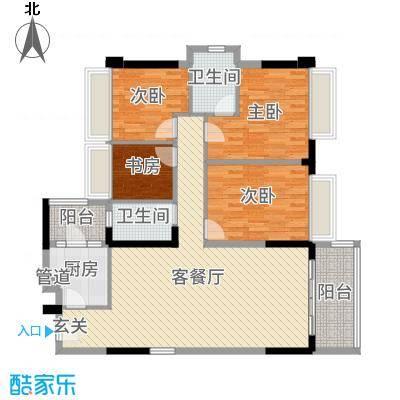 新长江顺心居125.81㎡4/6栋2座01户型4室4厅2卫1厨